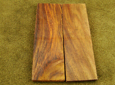 "5"" Pair of Burl Rose Wood Scales Knife Handle Making Blank Bush Crafts (500-76"