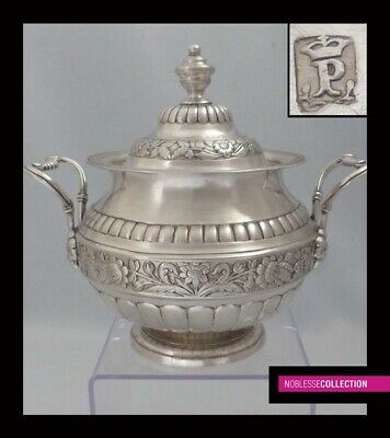 PORTO 1853 : ANTIQUE PORTUGUESE STERLING/SOLID SILVER SUGAR BOWL  647g Sunflower