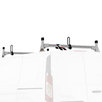 Silver Vantech H1 2 Bar Aluminum Ladder Roof Rack, Fits Transit Connect 2014-On