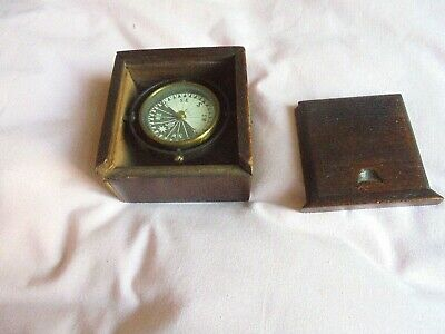 Ship's Navigation Compass  With Wooden Box