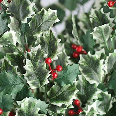 Artificial Holly and Red Berry Embellishing Stem
