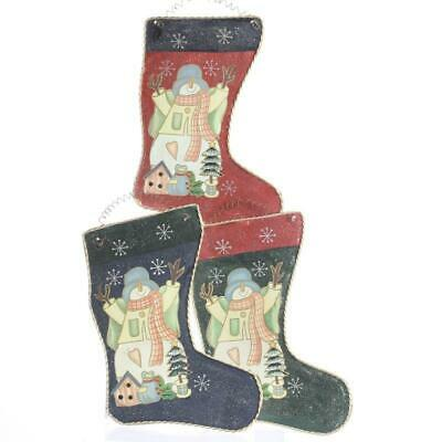 Aluminum Painted Snowman Stocking Decor in Assorted styles