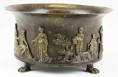 Handsome Paul Beau Hand Hammered Bronze Pot W Applied Classical Designs C-1915