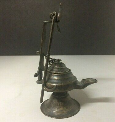 Antique Brass Whale Oil Betty Lamp, 19th Century Early Primitive Lighting HTF