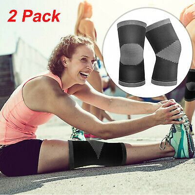 2 Knee Compression Sleeve Brace Support For Sport Joint Arthritis Pain Relief