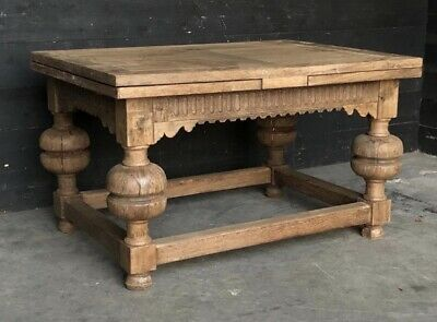 Large Early Farmhouse Draw Leaf Oak Dining Table, Kitchen, Circa 1880