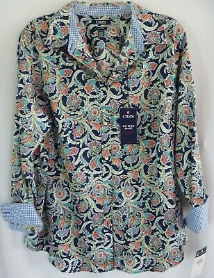 54442a5b New Chaps Womens Top 1X Blue Paisley No Iron Contrast Cuffs Blouse Long  Sleeves