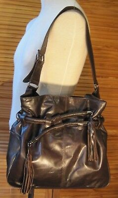 'M' Chocolate brown, soft real leather tote/shoulder bag. Tasselled pull cord.