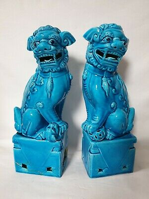 Pair Chinese Turquoise Foo Dogs Temple Lions (One Is Damaged)