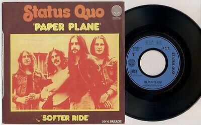 "STATUS QUO 'Paper Plane' 1973 French 7"" / 45 vinyl single, promo-stamped"