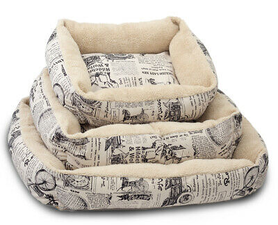 Pet Bed for Dog Cat Vintage Newspaper for Crate Kennel Home Travel - Large