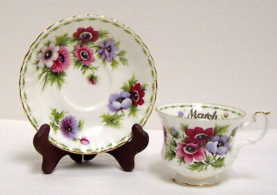 Royal Albert Flower of the Month Tea Cup and Saucer March Anemones Bone China