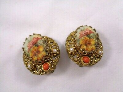 Vintage Clip On Earrings Ornate Filigree Floral Motif Faux Coral/Pearl W.GERMANY