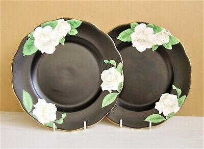 "2 ROYAL ALBERT GARDENIA 8"" PLATES Black with White Flowers 1927 - 1935  ENGLAND"