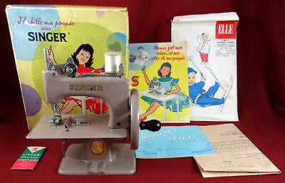 Singer Sewhandy Model 20 Child's French Beige Toy Sewing Machine. Boxed!