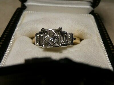 Antique PRINCESS CUT Diamond 14K ART DECO Early Wedding Ring  Aprox 1 1/4 Carats