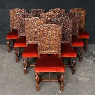 Very Rare Walnut Set 10 renaissance Dining Chairs, French, Late 19th Cenntury