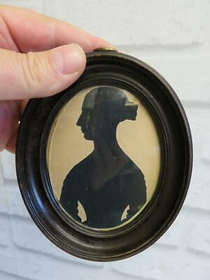 REALLY old MINIATURE portrait antique silhouette