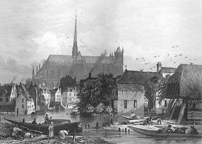 France, AMIENS Our Lady NOTRE DAME CATHEDRAL BASILICA ~ 1865 Art Print Engraving