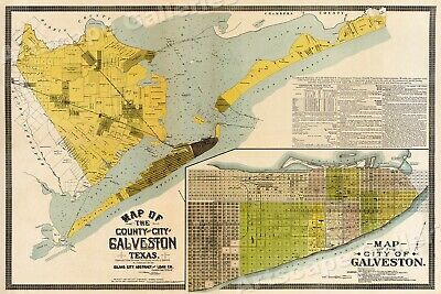1891 Map of the County & City of Galveston Texas Historic Map - 16x24