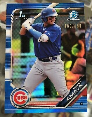 2019 Bowman Chrome Prospects MIGUEL AMAYA 1st Blue Refractor /150 CHICAGO CUBS