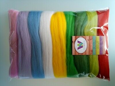 Packs of 9 Colours Grey set* Pure Wool Tops for Needle and Wet Felting 90 g
