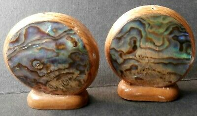 New Zealand Paua Shell Salt & Pepper Shakers - Vintage Wood & Shell - Look!