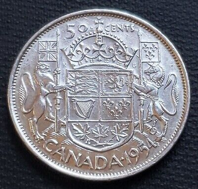 1954 Canada 80% Silver 50 Cents Half Dollar Coin - Good Date - Great Condition
