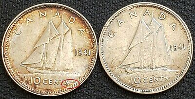 Lot of 2x 1941 Canada 80% Silver 10 Cents Dime ***Great Condition*** Die Cracks
