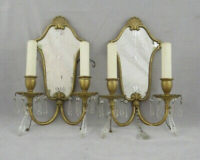 Pair of Vintage Bronze Mirrored Wall Sconces Ornate Crystal Prisms Electric