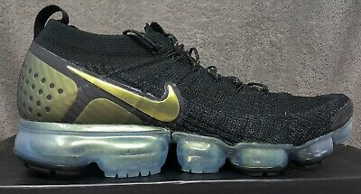 info for 4bb6a 78f38 NIKE AIR VAPORMAX Flyknit 2 Black Multi-color Gold [942842 015] Men's Size  10.5