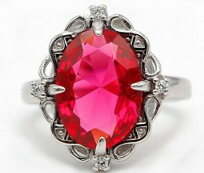 Huge 6CT Ruby & White Topaz 925 Solid Sterling Silver Ring Jewelry Sz 6