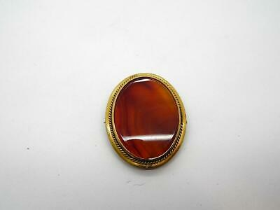 Antique Georgian Victorian Mourning Agate Pin Brooch 14K Gold Filled 40 x 33mm
