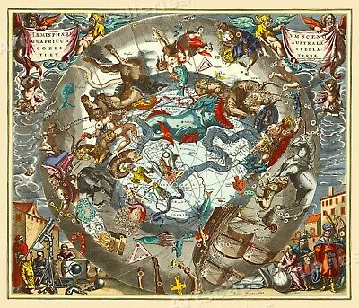 1661 Celestial Map of the Constellations Historic Vintage Style Map - 16x20