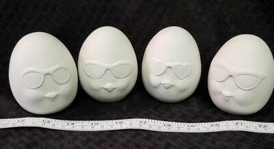 4 EGG - SPRESSION w/ Faces Ready to Paint Unpainted Bisque