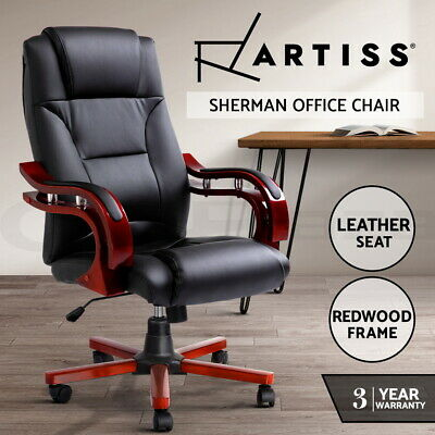 Artiss Executive Wooden Office Chair Wood Computer Chairs Leather Seat Sherman
