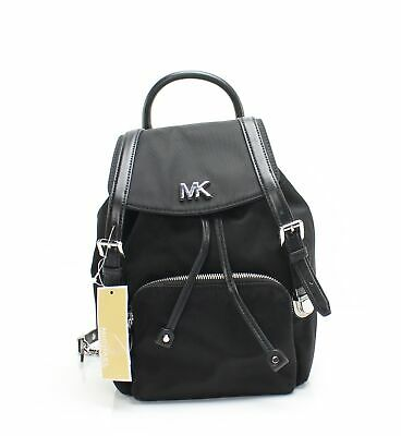 972a03835cb0 Michael Kors NEW Black Silver Beacon Small Nylon Leathero Backpack $258 #039