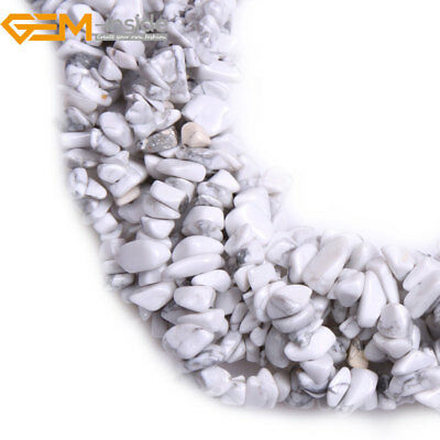 "5-8mm Freeform Natural Gemstone White Howlite Chips Beads Jewelry Making 34"" GI"