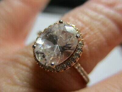 Sterling Silver 925 Estate Rose Vermeil Cubic Zirconia Accents Band Ring Size 8