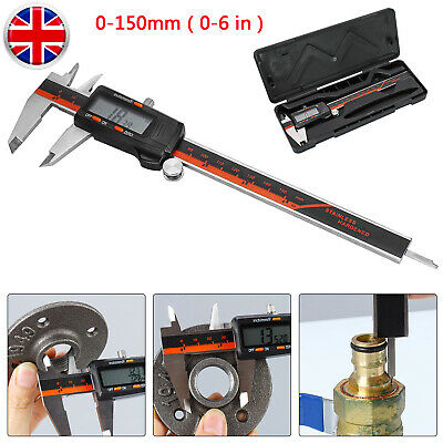 Stainless Vernier Caliper Digital 150mm Micrometer Gauge LCD Precision Tool UK