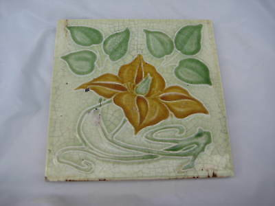 Period Art Nouveau English Tile Stylised Flower Leaves Crackle Ground