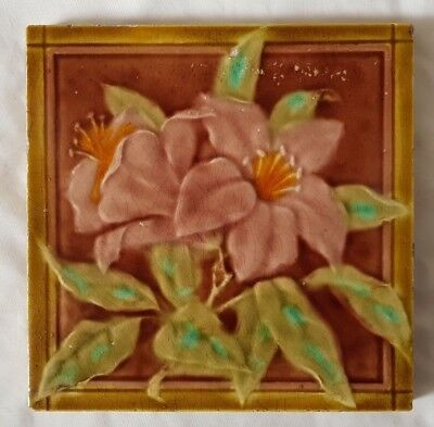 Charming Majolica  Tile With Exotic Flowers. Victorian