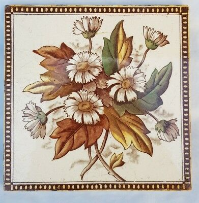 English Period Tile Colourful Flower Design Late 19Th Early 20 Century