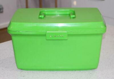 Vintage Retro Lime Green Craft / Sewing Box SINGER 1970'S
