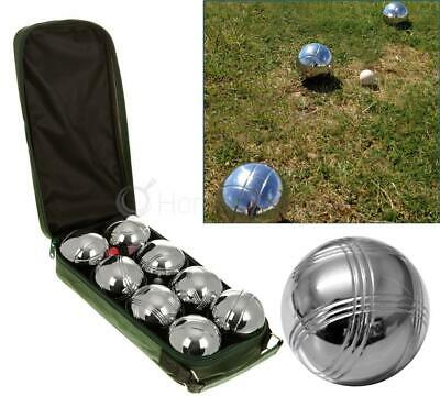 Set 8 Stainless Steel French Boules Balls Petanque Jack & Carry Case Garden Game