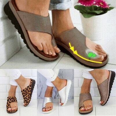 Womens Comfy Flat shoes Sandals Shoes Slipper - PU LEATHER - Bunion Corrector
