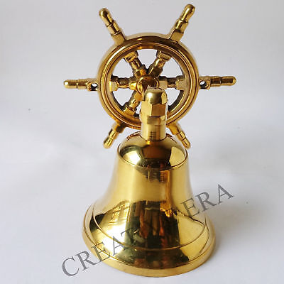 Ship Vintage  Wheel Anchor Marine Art Décor Hand Made Mooring Brass Bell BB 09