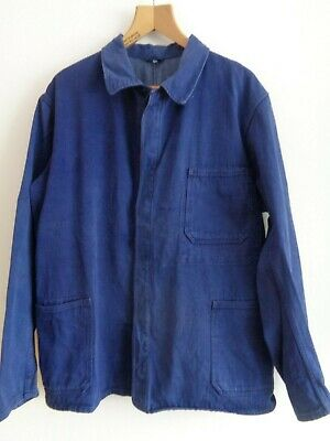 Vtg French cotton indigo blue denim worker work chore jacket