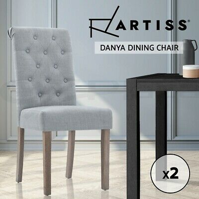 【20%OFF】2x Dining Chairs French Provincial Fabric High Roll Back Wood Light Grey