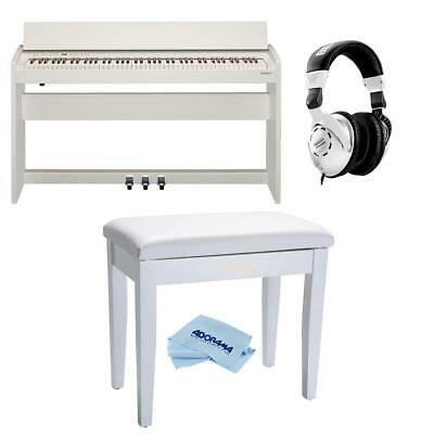 Roland F-140R Digital Piano with Stand Satin White W/Roland Piano Bench/HeadPhne